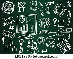 Information technology and internet sketch icons on school board