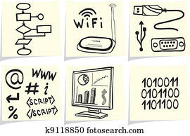 Information technology and internet sketch icons on yellow memo sticks