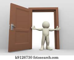 3d man and open door