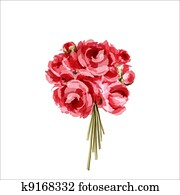 Bouquet of red and pink peonies