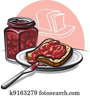 bread, mit, marmelade
