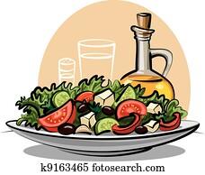 fresh vegetable salad and olive oil