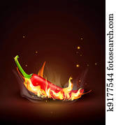 flaming red chili on a brown background
