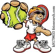kind, tennisspieler, halten, racquet, und, kugel
