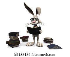 Cartoon rabbit reading a book.