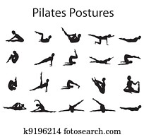 20 Pilates or Yoga Postures Positions Illustration