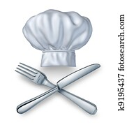 Chef Hat With Knife And Fork