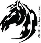 Mustang Stallion Horse Tribal Tattoo Vector Image