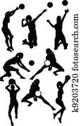 Volleyball Female Silhouettes in Athletic Poses