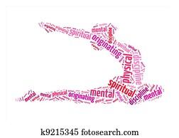 physical, mental, spiritual discipline, originating text on yoga graphic and arrangement concept