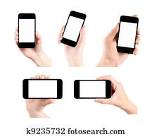 Set Of Mobile Smart Phone With Blank Screen In Hand