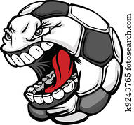 Soccer Ball Screaming Face Cartoon Vector Image