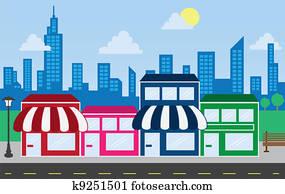 kaufmannsladen, fronten, und, skyline, geb?ude