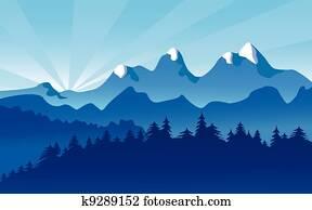 berg, landscape,, alpin, schnee