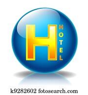 Hotel glossy icon