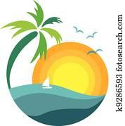 palme, mit, sonnenuntergang, ansicht