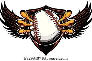 adler, baseball, talons, und, klauen, vektor, abbildung