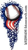 baseball, firework, mit, flaggen, und, sternen