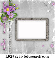 Greeting card with spring flowers