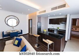 Interior of modern apartment - kitchen and lounge