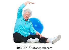 senior woman doing stretching exercises