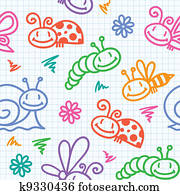 hand drawn pattern with insects