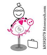 businessman and piggy bank