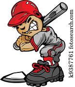 kind, baseball teig, halten, fledermaus, vektor, bild