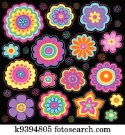 Flower Power Groovy Doodles Set