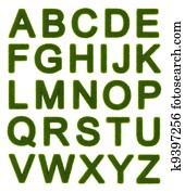 Green alphabet - capital letters