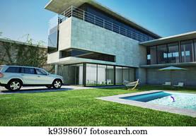 Modern luxury villa with swimming pool.
