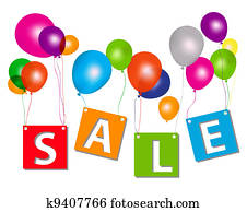 Balloons with sale letters . Concept of discount. Vector illustration.