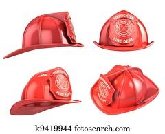 fireman helmet from various angles