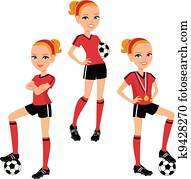 Cartoon Soccer Girl 3 Poses