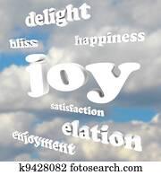 Joy Words in Cloudy Sky Satisfaction Happiness