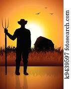 landwirt, und, seine, scheune