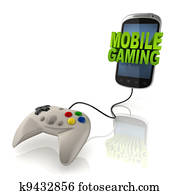 mobile gaming 3d concept