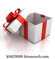 open gift box over white background