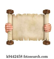 hands opening the parchment scroll