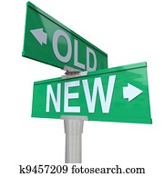 Choose Old or New 2-Way Street Sign Pointing Arrows