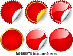 rot, aufkleber, satz