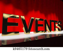Events Word On Stage Showing Agenda Concerts Festivals And Parti