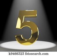 Gold Five Or 5 3d Number Closeup Representing Anniversary Or Bir