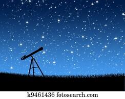 Telescope on the grass Under the Stars