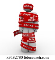 Broke Poor Person Wrapped in Tape Trapped in Debt