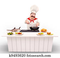 Chef cooking nonveg on the table