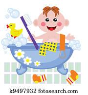 Clipart Junge Nehmen Bad Mit Dusche K37026711 Suche Clip Art