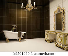 baroque furniture in bathroom