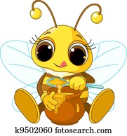 Cute Bee eating honey