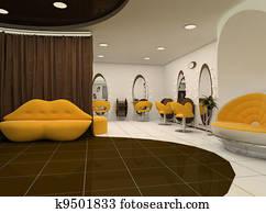 Interior of luxury beauty salon